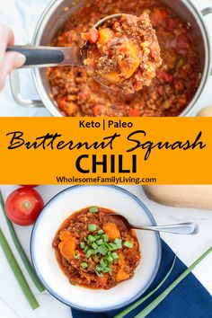 Looking for the perfect chili for a cool fall day? This butternut squash chili is sure to be a family favorite! The butternut squash adds sweet chunks to the chili, and as it cooks, it also helps thicken the chili, making it thick and hearty! Click the link to learn all of my tips and tricks for making this fabulous fall dish! #fall #chili #butternutsquash #butternutsquashchili #easy #hearty #thickchili #healthy #keto #paleo #wholesomefamilyliving Recipes For Soups And Stews, Fall Recipes, Soup Recipes, Butternut Squash Chili, Paleo Soup, Fall Dishes, Paleo Dinner, Winter Food, Chana Masala