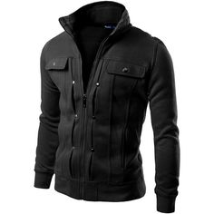 Doublju Mens Highneck Zip Up Jacket (65 BRL) ❤ liked on Polyvore featuring men's fashion, men's clothing, men's outerwear, men's jackets, men, jackets, menswear, outerwear, mens jackets and mens zip up jackets