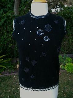 Vintage 1960's Sleeveless Black Beaded Sequin Pin Up Cocktail Evening Top | eBay