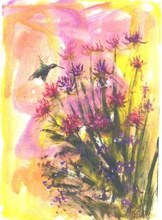 Hummingbird in Bee Balm  5x7 floral wildlife by jimsmeltzgallery, $6.00