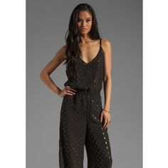 gold jumpsuit | ... jumpsuits eight sixty polkadot jumpsuit in black gold $ 101 sold out