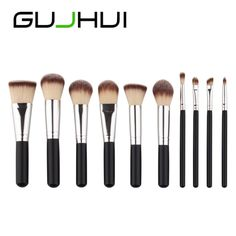 2017 Hot product GUJHUI   10PCS Make Up Foundation Eyebrow Eyeliner Eye Shadow Blusher Cosmetic Concealer Brushes Beauty Tool #Affiliate