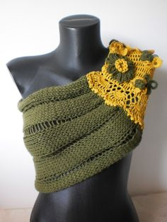 Hand knitted Cowl Capelet in shades of Khaki  and mustard