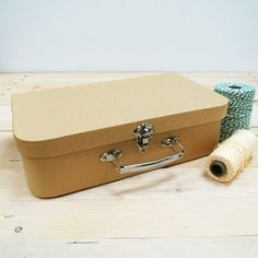 Cardboard suitcase, metal handle
