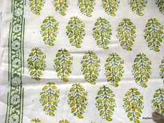 "Indian Block Leaf Print Indian Cotton Fabric Sold by theDelhiStore, 44"" wide, $12.00/yd -- (I assume this is a lighter weight fabric, not suitable for all home dec. applications)"