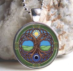 Tree Of Life Pendant, Celtic Tree Of Life Necklace, Celtic Jewelry, SIlver And Glass Charm on Etsy, $11.50