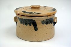 Antique Pottery Crocks | Blue Decorated Lidded Stoneware Cake Crock Antique American Stoneware