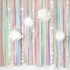 pastel party : rainbow and clouds birthday backdrop Rainbow First Birthday, Rainbow Theme, Rainbow Balloon Arch, Rainbow Pastel, Rainbow Star, 2nd Birthday, Birthday Backdrop, Birthday Party Decorations, Pastel Party Decorations