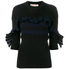 Marni ribbed ruffle top (2.275 BRL) ❤ liked on Polyvore featuring tops, sweaters, black, ribbed top, marni sweater, marni, ruffle top and ribbed sweater