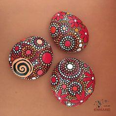 Painted Rocks, Mandala Inspired Design, Rock Art, Painted Stones, Natural Decor…