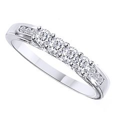 Diamond Wedding Band 1/3 ct Round-cut 14K White Gold #WeddingBand