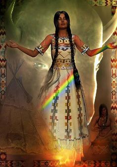 """To the Lakota Sioux Mary Magdalene (Christa) came to them as White Buffalo Calf Woman. """"One summer a long time ago, the seven sacred council fires of the Lakota Sioux came together and camped. The sun was strong and the people were starving for there was no game. Two young men went out to hunt in the Black Hills of South Dakota. Lightning Medicine Cloud Along the way, a beautiful young woman dressed in white appeared to the warriors and said """"Return to your people and tell them I am coming."""""""