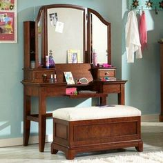 Buy your Skylar Vanity Set here. The Skylar Vanity Set is the perfect piece of furniture for any teen! Includes vanity/desk, mirror, and bench. Boudoir, Carolina Furniture, Teen Furniture, Diy Bathroom Decor, Vanity Set, Room Set, Apartment Living, Home Accessories, Sweet Home