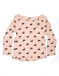 Little Pieces - Roze Vivienne bloesje met zwarte zwaantjes