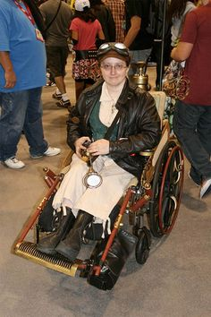 Incorporating a wheelchair into a costume is very clever, and in the case of this Steampunk costume, it's very cool. Description from costumepop.com. I searched for this on bing.com/images