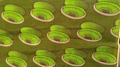 Mid century fabric Oriba / lime green / funky polka dots and