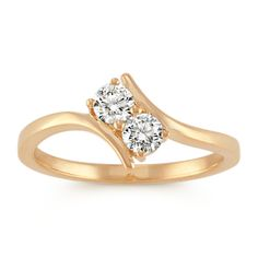 Two-Stone Diamond Ring in Yellow Gold Platinum Jewelry, Sapphire Jewelry, Sterling Silver Jewelry, Gold Jewelry, Gold Ring Designs, Gold Bracelet For Women, Diamond Studs, Diamond Rings, Jewellery Sketches