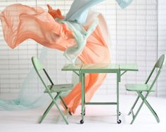 Vintage steel typewriter table and folding chairs