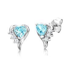 ByJoy Boucles d'Oreilles Argent 925/1000 Cœur Topaze Bleu Femme
