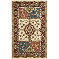 Safavieh Heritage Collection HG925A Handmade Multi and Red Wool Area Rug, 3 feet by 5 feet (3′ x 5′)