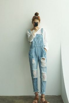 Bang Girl Overall Jeans | Korean Fashion