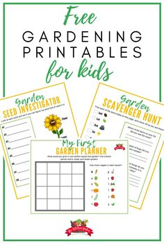 Grab these free gardening printables for kids to get them outside and thinking about gardening! The free set includes a planner, seed page, and more! kids in the garden Kids Gardening Set, Gardening For Beginners, Container Gardening, Flower Gardening, Vegetable Gardening, Kids Planner, Herb Garden Design, Garden Paths, Garden Journal