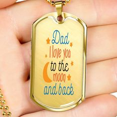 The perfect way to show Dad just how much you love him. Engrave a special message on the back. Available in Stainless Steel or 18k gold filled. #birthday #fathersday  #dad #love #dogtags #gold #jewelry Jewelry For Her, Cute Jewelry, Jewelry Gifts, Gold Jewelry, Jewelery, Bridal Bracelet, Bridal Jewelry, Engraved Dog Tags, Best Friend Jewelry