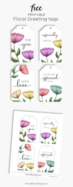 Few things are as versatile as tags. And who doesn't love flowers? These floral gift tags are the prefect addition to any gift or bouquet for y… Free Printable Gift Tags, Free Printables, Printable Art, Handmade Gift Tags, Christmas Gift Wrapping, Card Tags, Floral Watercolor, Bouquet, Cricut