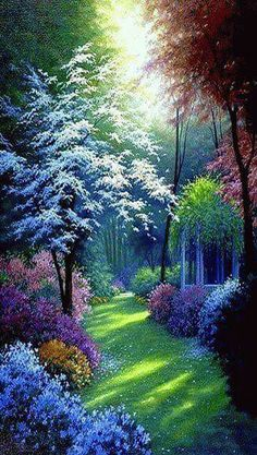 Art Discover Diy Diamond Painting Cross Stitch Tropical Forest Scenery Square Diamond Rhinestones Pasted Home Decoration Painting Beautiful Landscapes, Beautiful Gardens, Beautiful Flowers, Beautiful Scenery, Beautiful Paintings Of Nature, Beautiful Gorgeous, Beautiful Nature Pictures, Beautiful Forest, Beautiful Nature Wallpaper