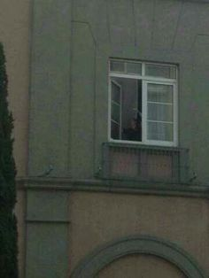 Niall waving from his window  hotel in Mexico.