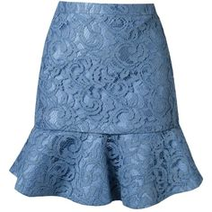 Martha Medeiros Ruffled Hem Marescot Lace Skirt (5.110 BRL) ❤ liked on Polyvore featuring skirts, blue, blue lace skirt, flounce hem skirt, knee length lace skirt, lacy skirt and blue skirt