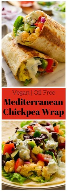 These vegan Mediterranean wraps feature smashed chickpeas, colourful veggies and a tangy herby tzatziki sauce. These fast and easy vegan wraps can be made ahead for a packed lunch or quick snack when you're on the go. via Melissa Copeland Healthy Vegan Snacks, Vegan Lunches, Healthy Recipes, Vegan Snacks On The Go, Easy Vegan Lunch, Quick Vegan Meals, Vegan Fast Food, Healthy Wraps, Delicious Vegan Recipes