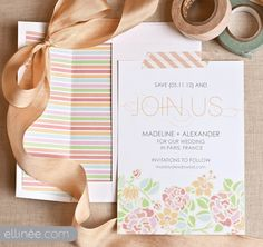 10 Beautiful and Free Save the Date Templates: Paris In Bloom Save the Date Template from The Elli Blog