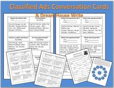 ESL CONVERSATION CARDS-CLASSIFIED ADS DREAM HOUSE WRITE FOR BEGINNING LOW/HIGH STUDENTS