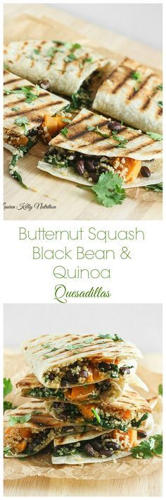 These Butternut Squash Black Bean & Quinoa Quesadillas are delicious and healthy too! #vegan