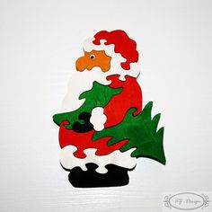 Puzzle bois, Papa Noël, Père Noël, St. Nicolas, cadeau Noël, jouet enfant