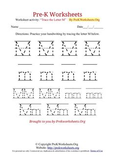 pre k tracing worksheet m - Pre K Worksheet Printables