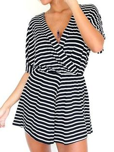a1528aefd8d Black Stripe Wrap V Neck Short Sleeve Romper Playsuit