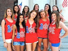 delta phi epsilon for bailey Delta Phi Epsilon, Alpha Sigma Alpha, Theta, Sorority Outfits, Sorority Life, American Pride, American Flag Tank, Sorority Sugar, Custom Greek Apparel