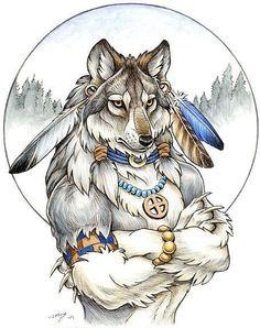 Эскиз волка-индейца