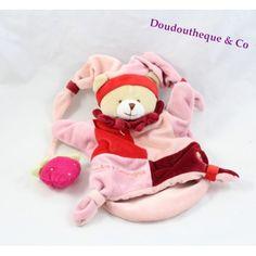 Doudou marionnette ours DOUDOU ET COMPAGNIE fraise rose et rouge