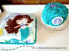 Mermaid Birthday Cake for a 1st Birthday Party with a turquoise and purple smash cake