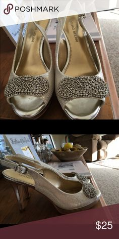 Silver Bling 4 inch Heels. Size 7.5.  Beautiful, comfortable Designer Antonio Melani 4 inch Heels. . Silver with bling. Worn once for my daughters wedding. Antonio Melani Shoes Heels