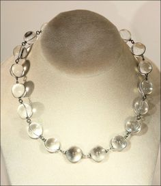 """Vintage Art Deco 'Pools of Light' Necklace, 17"""" Silver from vsterling on Ruby Lane"""