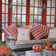 Porch and Patio Design Inspiration from Southern Living. I say Lake House Living. Decor, Porch Decorating, Modern Porch, Porch Design, Southern Living, Modern Porch Swings, Fall Decorations Porch, Home, Outdoor Rooms