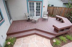 Trex deck with bench, steps and stairs. HIDDEN STEPS