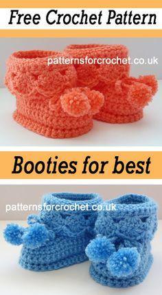 Booties for best   free baby crochet pattern   #crochet