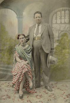 Wedding portrait of Frida Kahlo and Diego Rivera