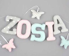 Kolorowe literki uszyte z materiałów bawełnianych to piękna ozdoba każdego pokoju dziecięcego. Wypełnione są starannie antyalergiczną kulką sili Baby, Baby Humor, Infant, Babies, Babys