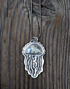 Jellyfish necklace. Sterling Silver. Moss Agate pendant. by Arrok